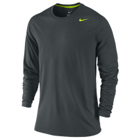 Nike Legend Poly Long Sleeve T-Shirt - Men's - Grey / Light Green