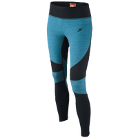 Nike Tech Fleece Tights - Girls' Grade School - Light Blue / Black