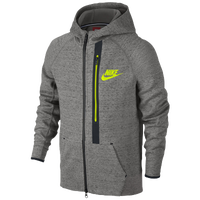 Nike Tech Fleece Full Zip Hoodie - Boys' Grade School - Grey / Light Green