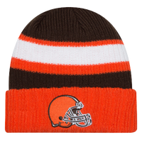 New Era NFL Logo Stripe Cuffed Knit - Men's - Cleveland Browns - Orange / Brown