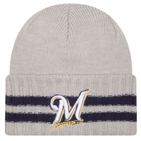 New Era MLB 2 Striped Cuff Knit - Men's - Milwaukee Brewers - Grey / Navy