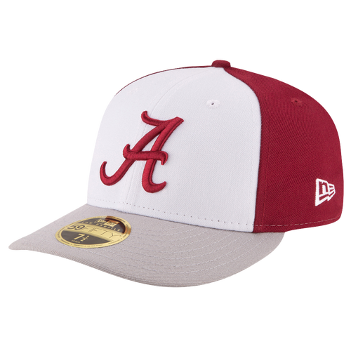 New Era College 59Fifty Front & Center Low Profile - Men's - Alabama Crimson Tide - White / Cardinal