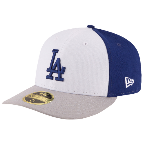 New Era MLB 59Fifty Front & Center Low Crown Cap - Men's - Los Angeles Dodgers - White / Blue