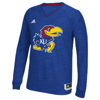 adidas College On Court L/S Shooting Shirt - Men's - Kansas Jayhawks - Blue / Red