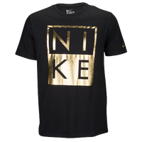 Nike Graphic T-Shirt - Men's - Casual - Clothing - Black/Gold Foil