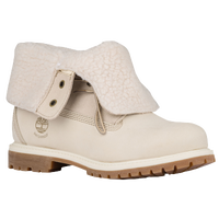 Timberland Teddy Fleece Fold Down Boots - Women's - Off-White / Tan