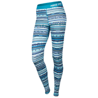 Nike Pro Hyperwarm 8 Bit Tight - Women's - Light Blue / White