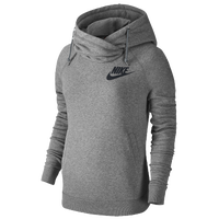 Nike Rally Funnel Neck Hoodie - Women's - Grey / Black