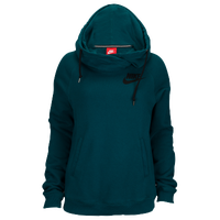 Nike Rally Funnel Neck Hoodie - Women's - Dark Green / Dark Green