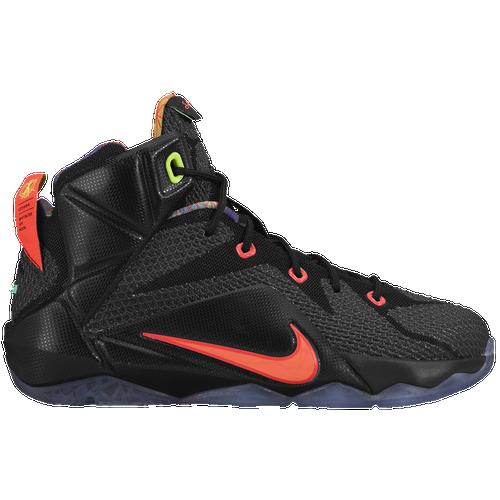 ... nike lebron 12 boys grade school basketball shoes james lebron black  hyper punch volt bright mango ...