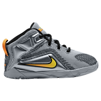 Nike LeBron 12 - Boys' Toddler - Grey / Orange