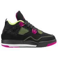 Jordan Retro 4 - Girls' Preschool - Black / Pink