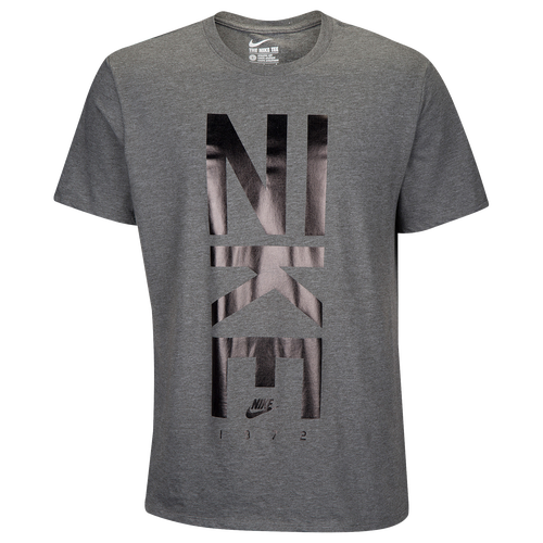 Nike Graphic T-Shirt - Men's - Casual - Clothing - Charcoal Heather/Black