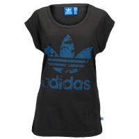 adidas Originals Blue Floral Logo T-Shirt - Women's - Black / Blue