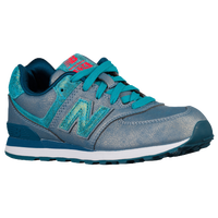 New Balance 574 - Girls' Grade School - Grey / Light Blue