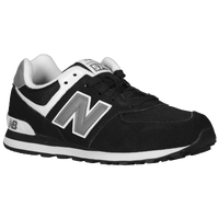 New Balance 574 Suede - Boys' Grade School - Black / White
