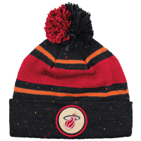 Mitchell & Ness NBA Speckled Cuffed Pom Knit - Men's - Miami Heat - Black / Red