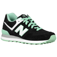 New Balance 574 - Women's - Black / Light Green