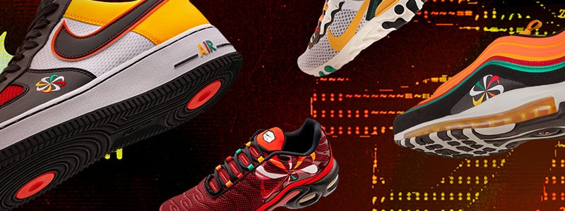 Collection of the latest release from Nike's Evolution of the Swoosh pack: Sunburst.