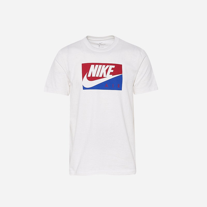 Shop the Men's Nike Boxed Air T-shirt in white/red/blue.