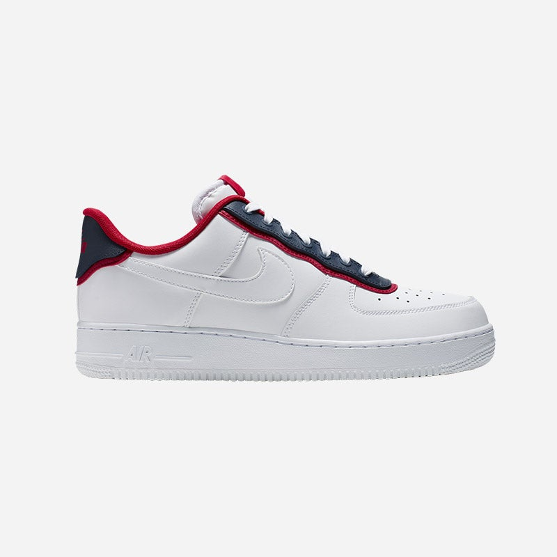 Shop the Men's Nike Air Force 1 LV8 in White/Obsidian/University Red.