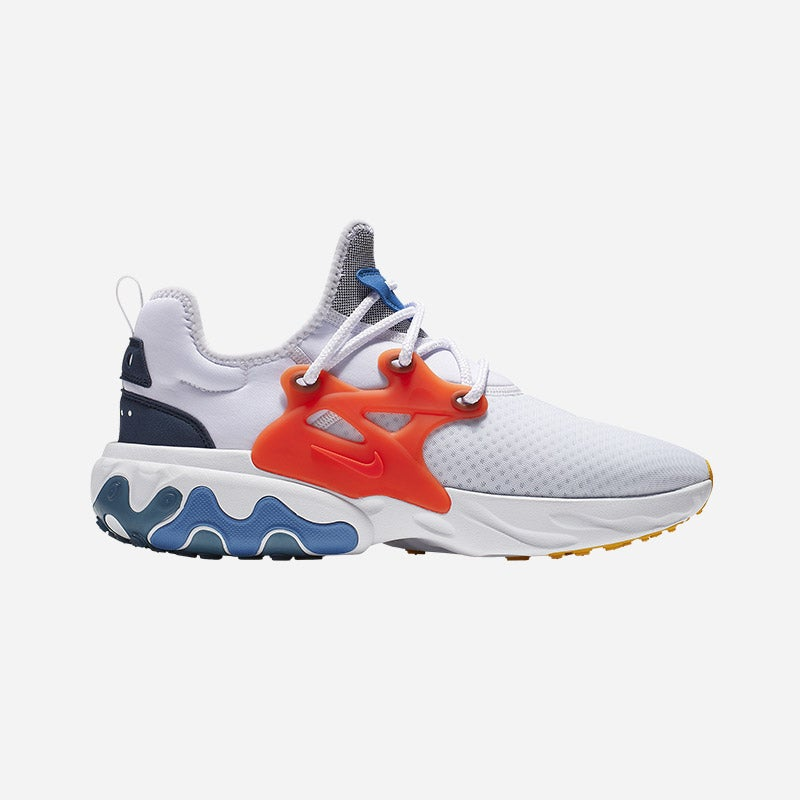 Shop the Men's Nike React Presto in White/Habanero Red/Obsidian/Pacific Blue.