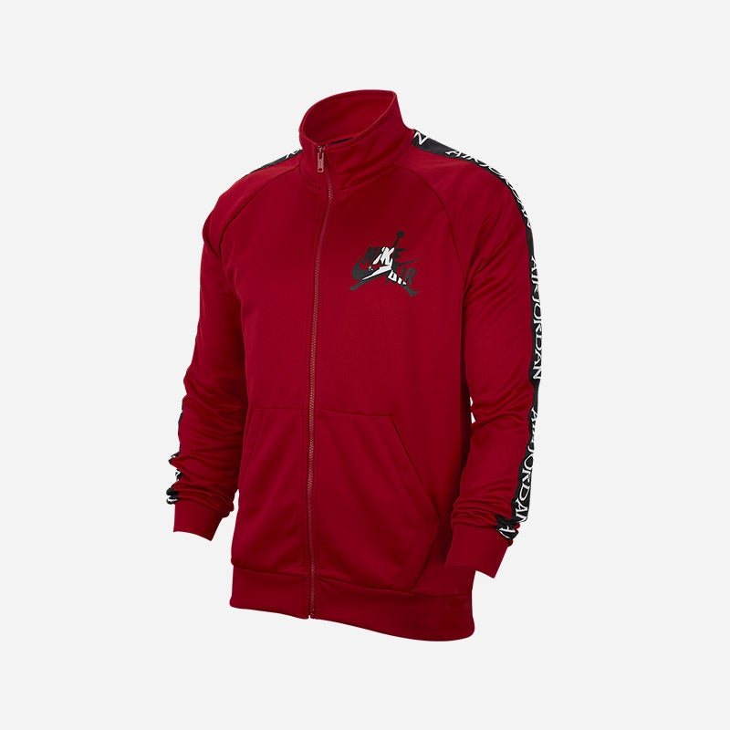 Shop the Men's Jordan Classic Tricot Warm-Up Jacket in gym red/white/black.