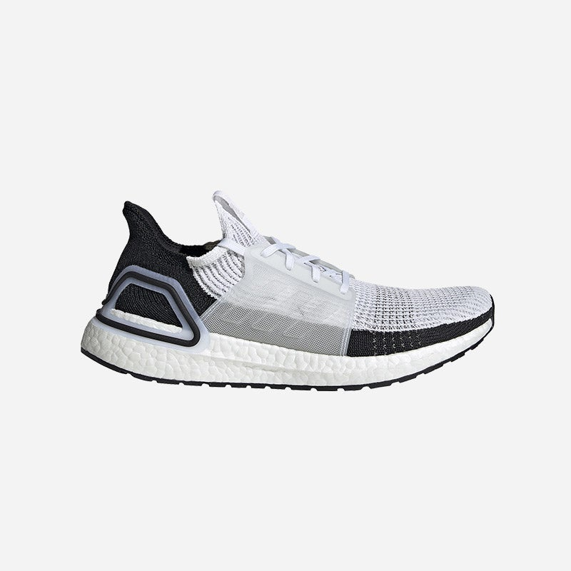 Shop the Men's adidas Ultraboost 19 in White/Core Black/Grey Four.