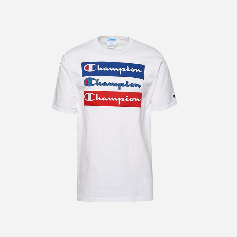 Shop the Men's Champion Graphic Short Sleeve T-shirt in white/red.