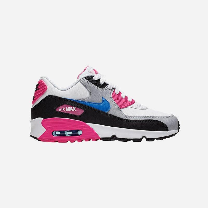 Shop the Girls' Nike Air Max 90 in White/Photo Blue/Black/Pink Blast.