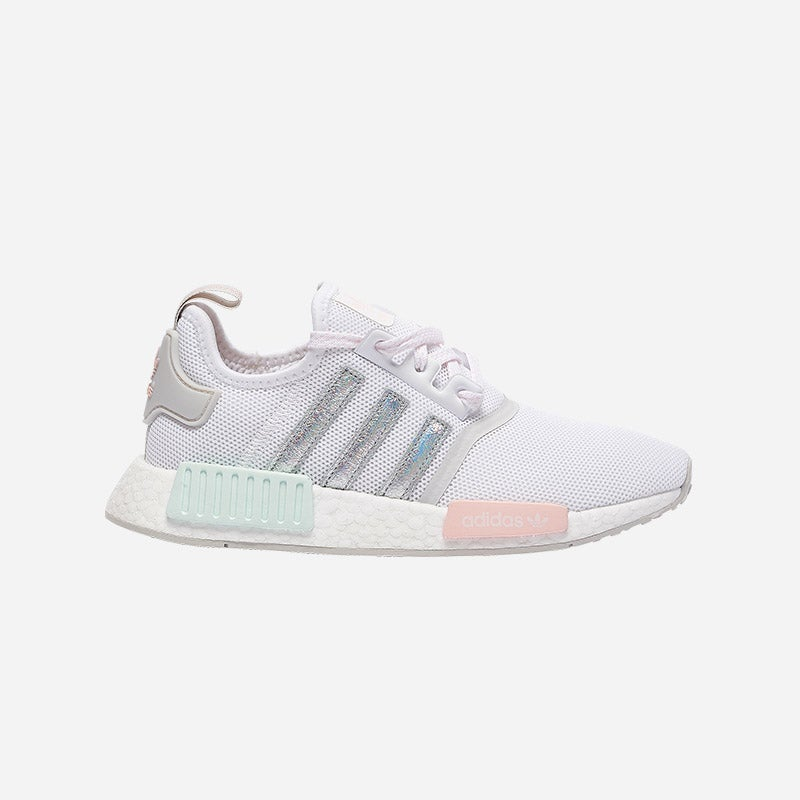 Shop the Women's adidas Originals NMD R1 in White/Grey/Ice Mint/Icey Pink.
