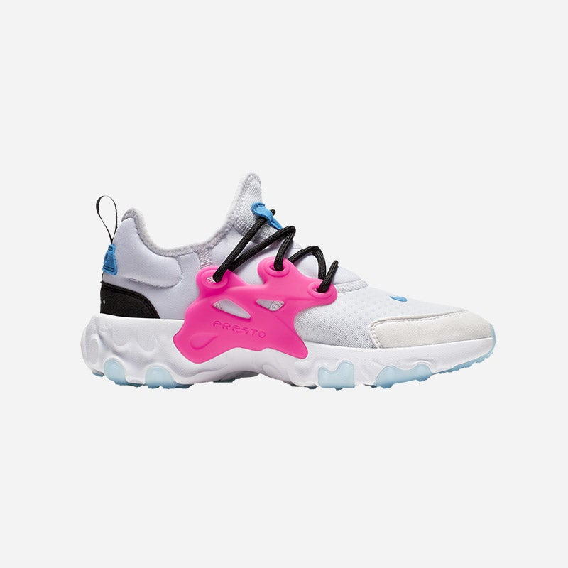 Shop the Boys' Nike React Presto in White/Hyper Pink/Photo Blue/Black.