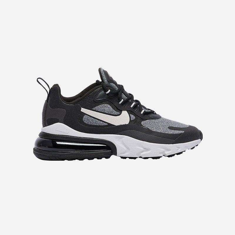 Shop the Women's Nike Air Max 270 React in Black/Vast Grey/Off Noir.