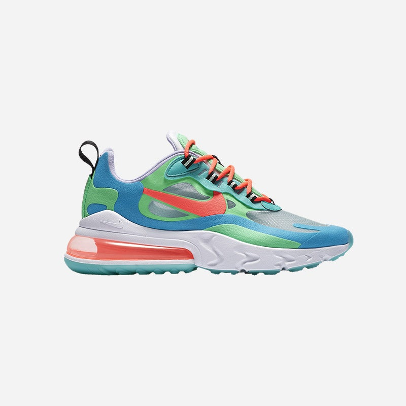 Shop the Women's Nike Air Max 270 React in Electro Green/Flash Crimson/Blue Lagoon/Jade.