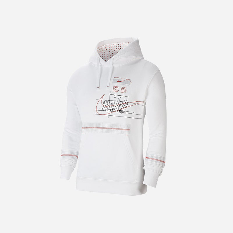Shop the Men's Nike Story Of The Swoosh Club Hoodie in white.