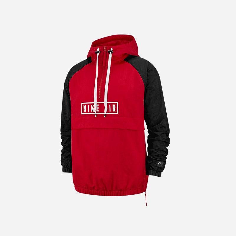 Shop the Men's Nike Air Woven Half-Zip Jacket in University Red/Black.
