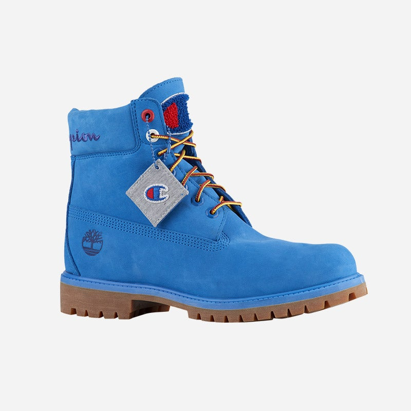 """Shop the Men's Timberland x Champion 6"""" Boots in surf blue."""