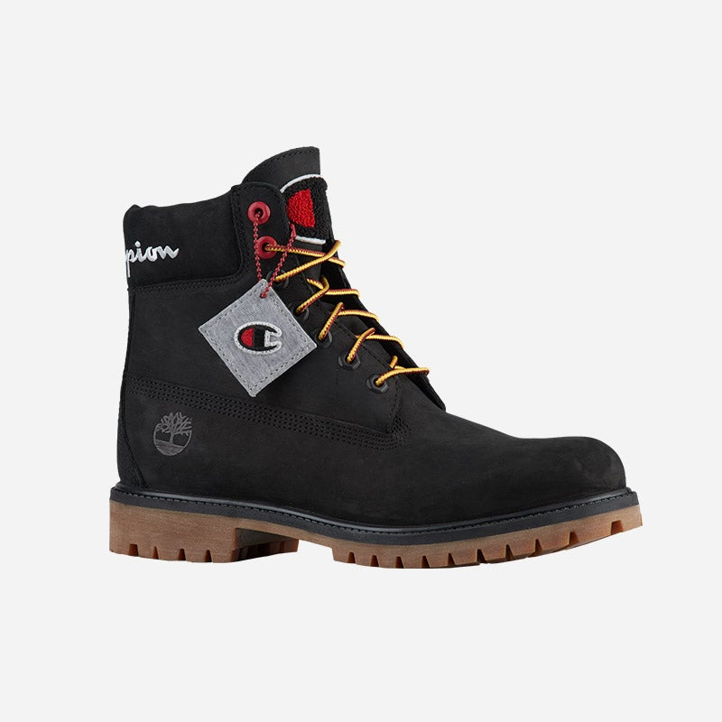 """Shop the Men's Timberland x Champion 6"""" Boots in black."""