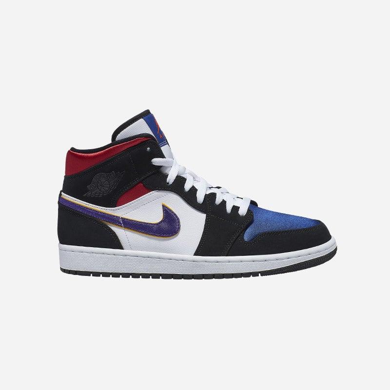 Shop the Men's Jordan AJ 1 Mid SE in Black/Field Purple/White/Gym Red.