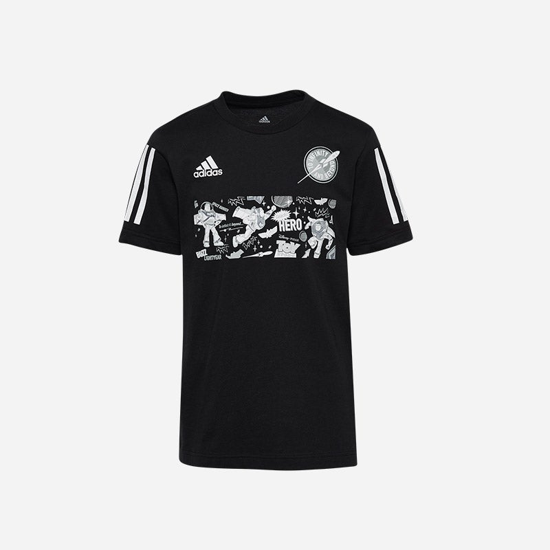 Shop the Boys' adidas Buzz Lightyear T-Shirt in Black/Reflective/Grey.