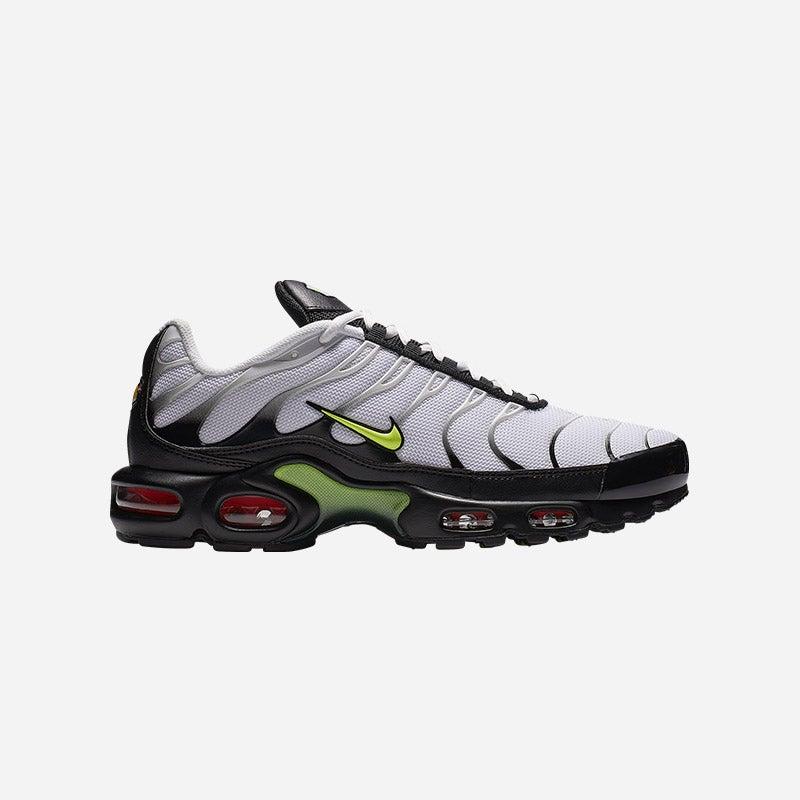 Shop the Men's Nike Air Max Plus in White/Volt/Black/Bright Crimson.