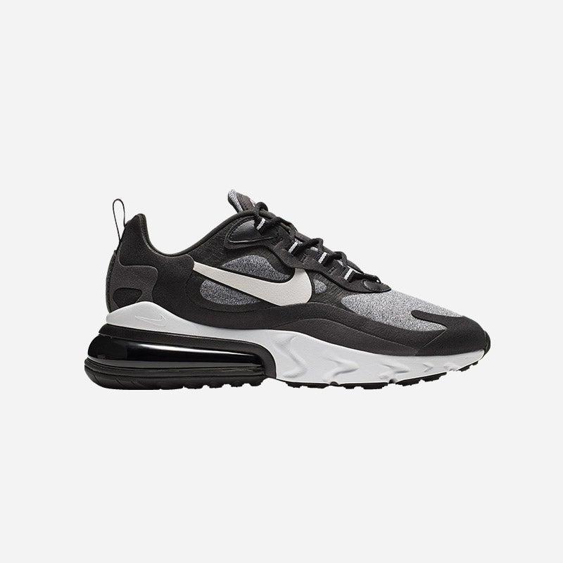 Shop the Men's Nike Air Max 270 React in Black/Vast Grey/Off Noir.
