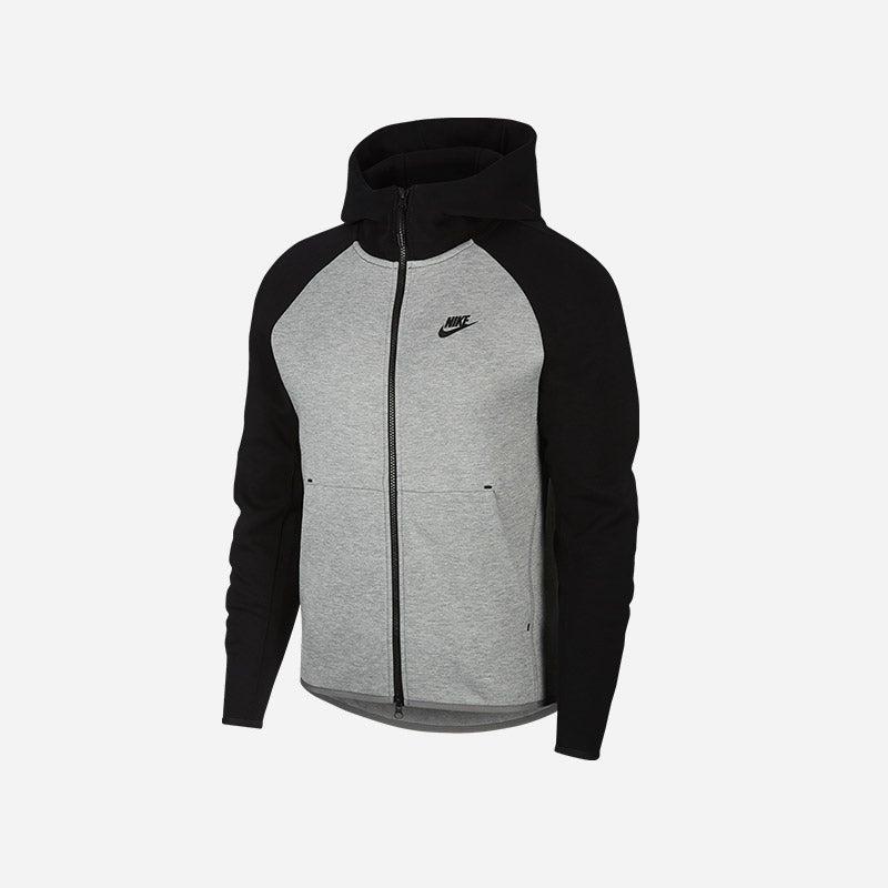 Shop the Men's Nike Tech Fleece Full-Zip Hoodie in Dark Grey Heather/Black.