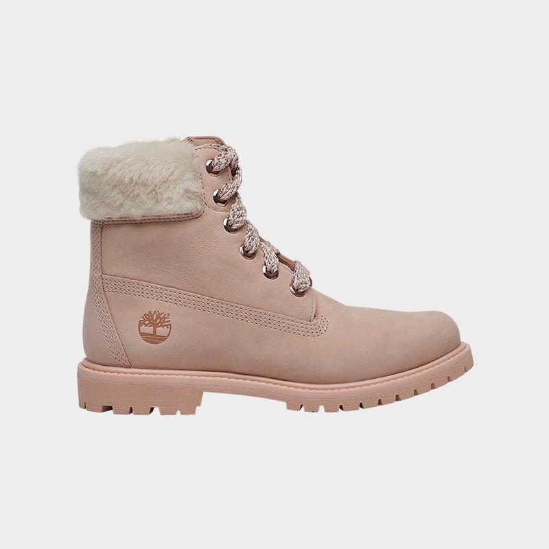 "Shop the Women's Timberland 6"" Premium Waterproof Boots in Light Pink/Nubuck."