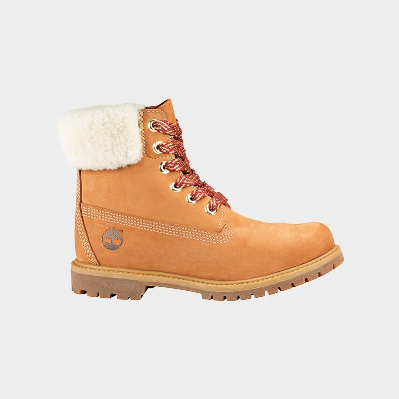 """Shop the Women's Timberland 6"""" Shearling Boots in Wheat/Maroon/Gold."""