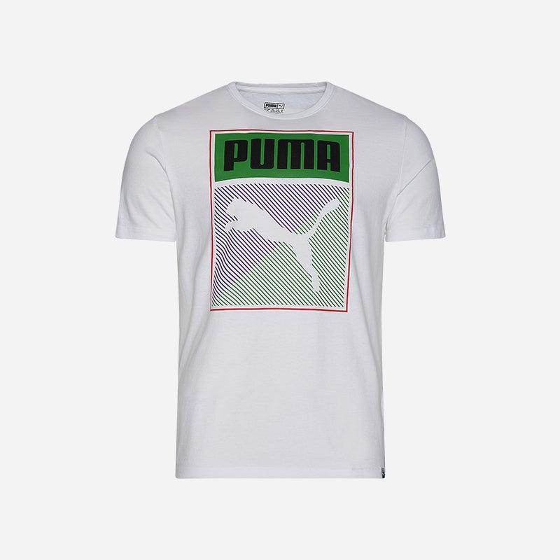 Shop the Men's PUMA Box T-Shirt in White/Purple/Green.