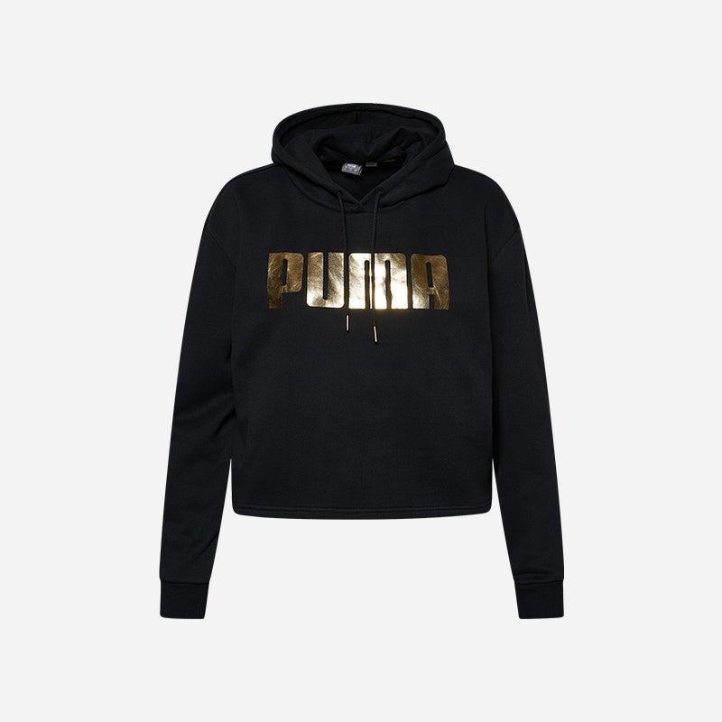 Shop the Women's PUMA Holiday Metallic Hoodie in black.