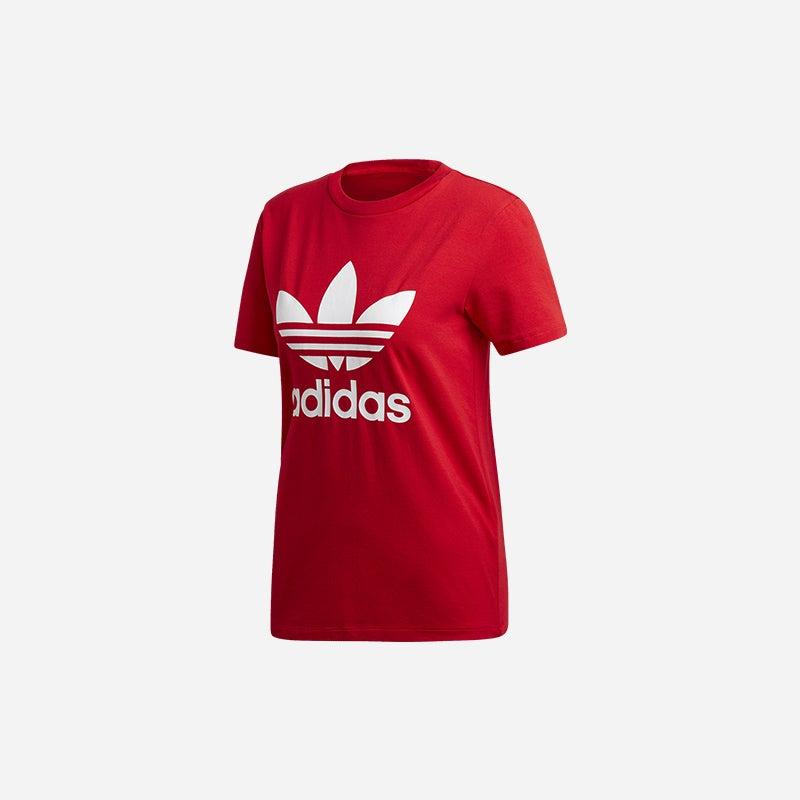 Shop the Women's adidas Originals Adicolor Trefoil T-Shirt in Scarelet/White.