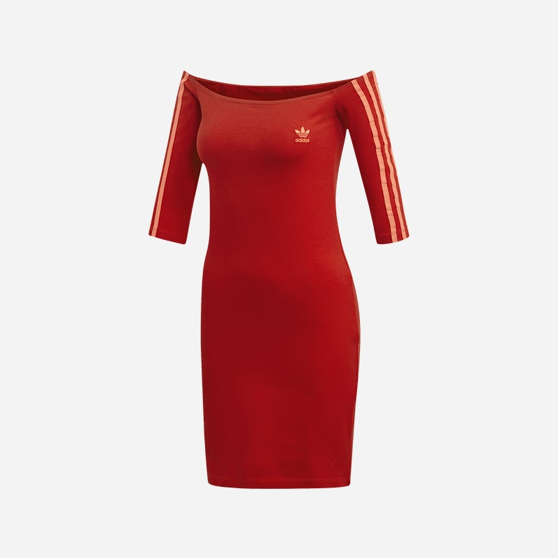 Shop the Women's adidas Originals Lady Shoulder Dress in Red/White.