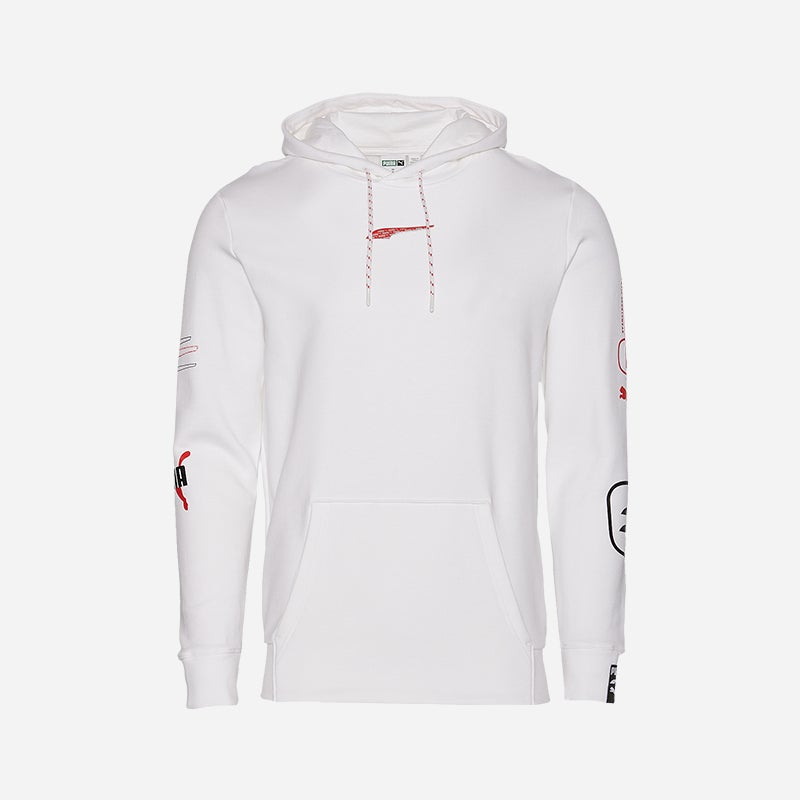 Shop the Men's PUMA Hacked Hoodie in White.